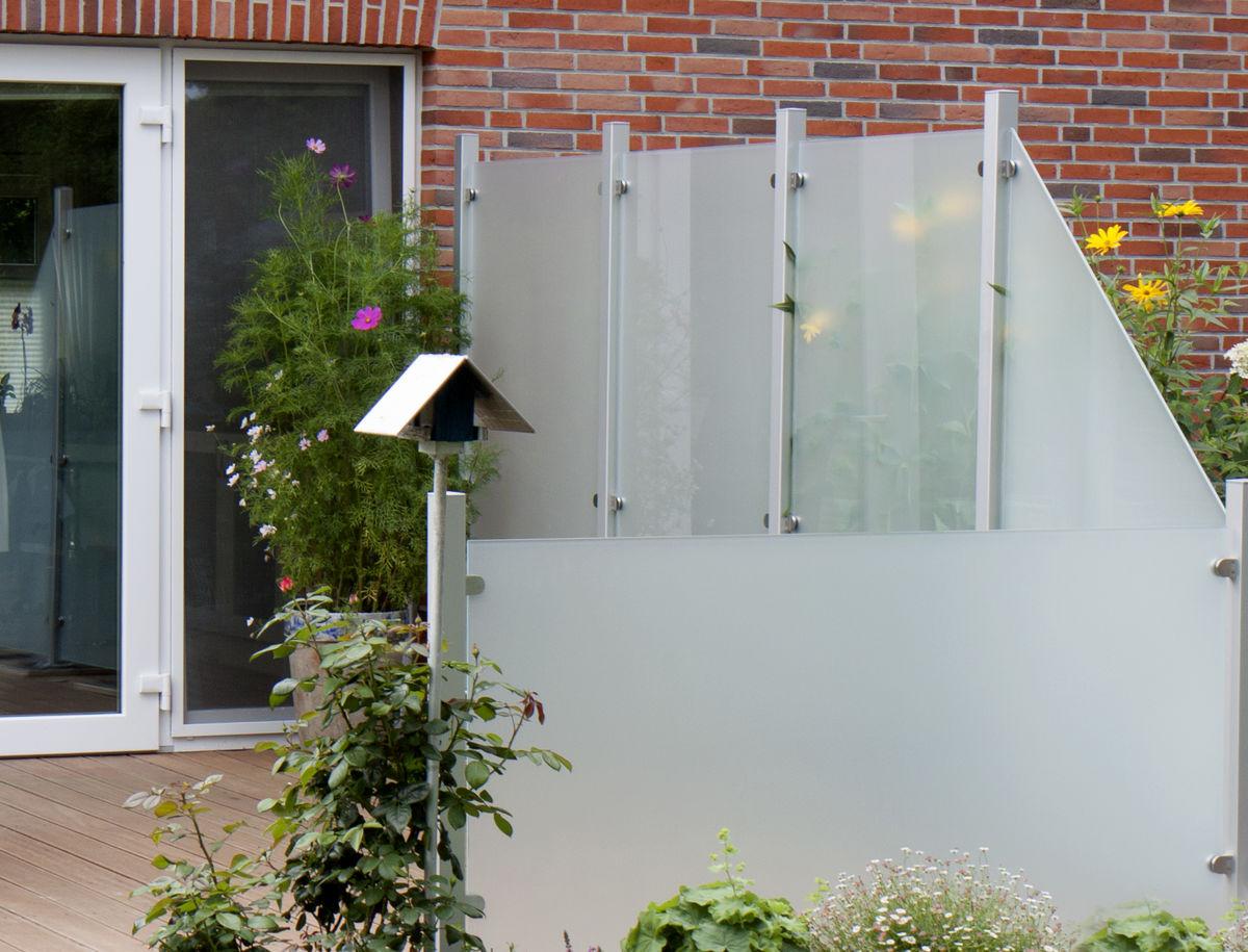 Sichtschutzzaun Glas 120 X 180 X 0 8cm Satiniert Handelskontor
